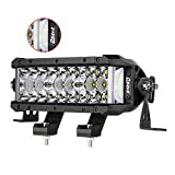 LED Light Bar, DJI 4X4 7.5 Inch 102W Triple Row Side Shooter CREE LED Pods Off Road Spot Flood Combo Beam Waterproof Driving Fog Lights for Trucks ATV UTV SUV Pickup Boat
