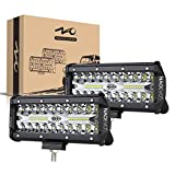 NAOEVO 7inch LED Light Bar, 240W 24,000LM Offroad Fog Light Driving Lights LED Pods with Spot Flood Combo Beam, Waterproof Led Work Lights for UTV ATV Jeep Truck Boat, 2 Pack