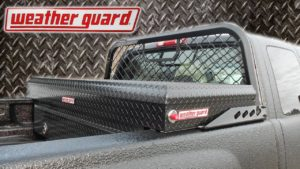 WeatherGuard Tool box mounted on the back of a pickup truck