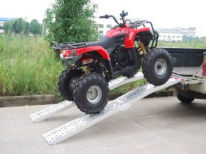 Testing the weight capacity of the ramps to rate them for the best ATV ramp guide